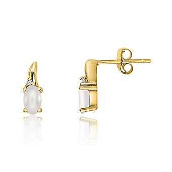 LXR 14k צהוב זהב מים מתוקים פנינה ועגילי יהלומים