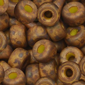 Czech Glass Matubo, 2/0 Seed Bead, 20 Gram Tube, Lemon Matte Bronze Luster