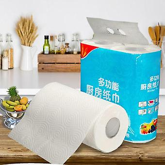 2 Rolls Cleaningkitchen Wipes Paper Tissues Embossed Thickened Large Hand Towel