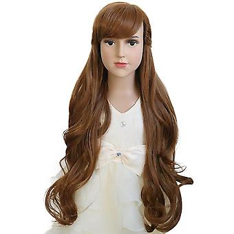 Cosplay Wig Frozen 2 Princess Anna Curly Wavy Child Fashion Synthetic Brown Wig
