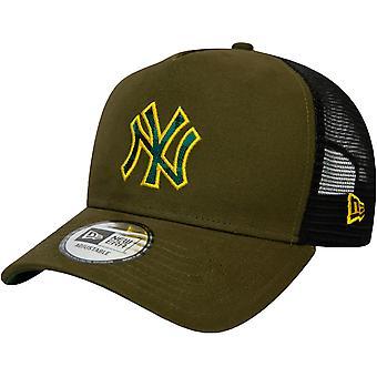 Ny æra 9FORTY New York Yankees MLB Check Infill Baseball Trucker Cap Hat Khaki