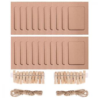 Paper Photo Frame, 20pcs 11.5*15.5cm Diy Creative Retro Kraft Paper Picture Mats Hanging Album Frame With Mini Clips And Hemp Ropes, Brown