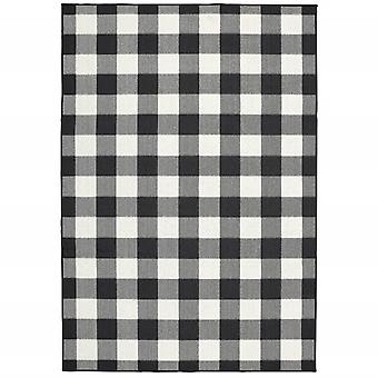 3'x5' Black and Ivory Gingham Indoor Outdoor Area Rug