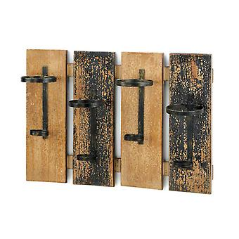 Accent Plus Four-Bottle Rustic Wood Wall-Mounted Wine Rack, Pack of 1