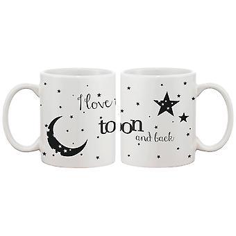 Jeg elsker dig til månen og tilbage par krus - hans og hendes matchende kaffekop Cup sæt - perfekt Valentinsdag gave