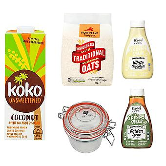 Breakfast Kit Seven Trees Farm   Glass Jar 350ml, 2 x Coconut Milk Dairy Free Unsweetened 1L, Traditional Oats 1kg and 1 x Golden Syrup, 1 x White Chocolate Syrup Free Sugar