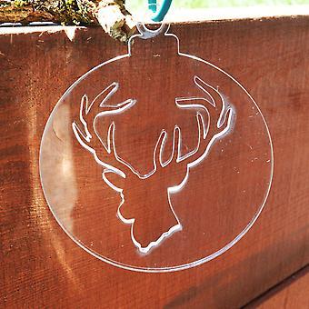 Pack 4 de grandes adornos navideños de cabeza de ciervo transparente acrílico