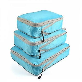3pcs / set Compression Packing Cubes Sac de rangement de voyage Bagages Valise Organisateur Set Pliable