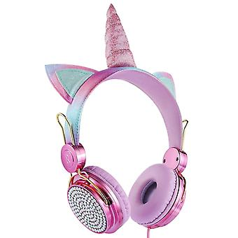 Cartoon Unicorn Wired Headphone Girls Córka Muzyka Stereo Słuchawka Słuchawka telefon słuchawkowy Dla dzieci Prezent Cute Unicorn z mikrofonem