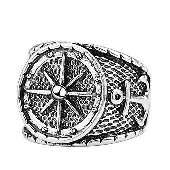 Ancora anelli uomo e anello in acciaio titanio timone