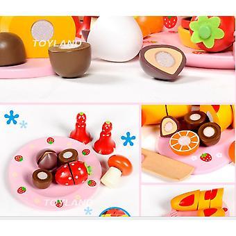 Kinderspielzeug Süße Holzpackung Dessert Set mit einer großen Cane Carry Box