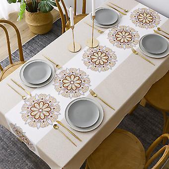 Rechteckige beschichtete Tischdecke, wasserdichte Tischdecke, PVC-Tischdecke, pflegeleichte Tischdecke, verwendet für Picknick Gartentisch Küchentisch (140 * 140cm)