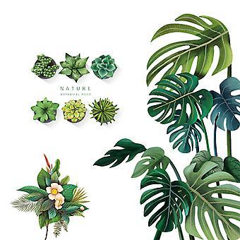 grønne planter vegg klistremerke hjem dekal (størrelse: 80cm x 79cm)