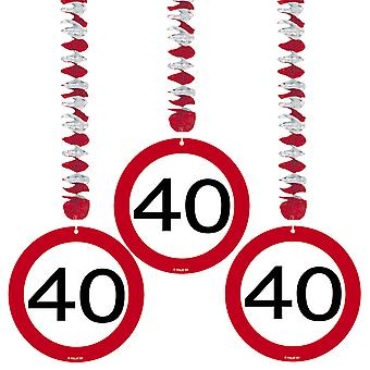 Spiralen Girlande 3 St. Verkehrsschild Zahl 40 Geburtstag Rotorspiralen