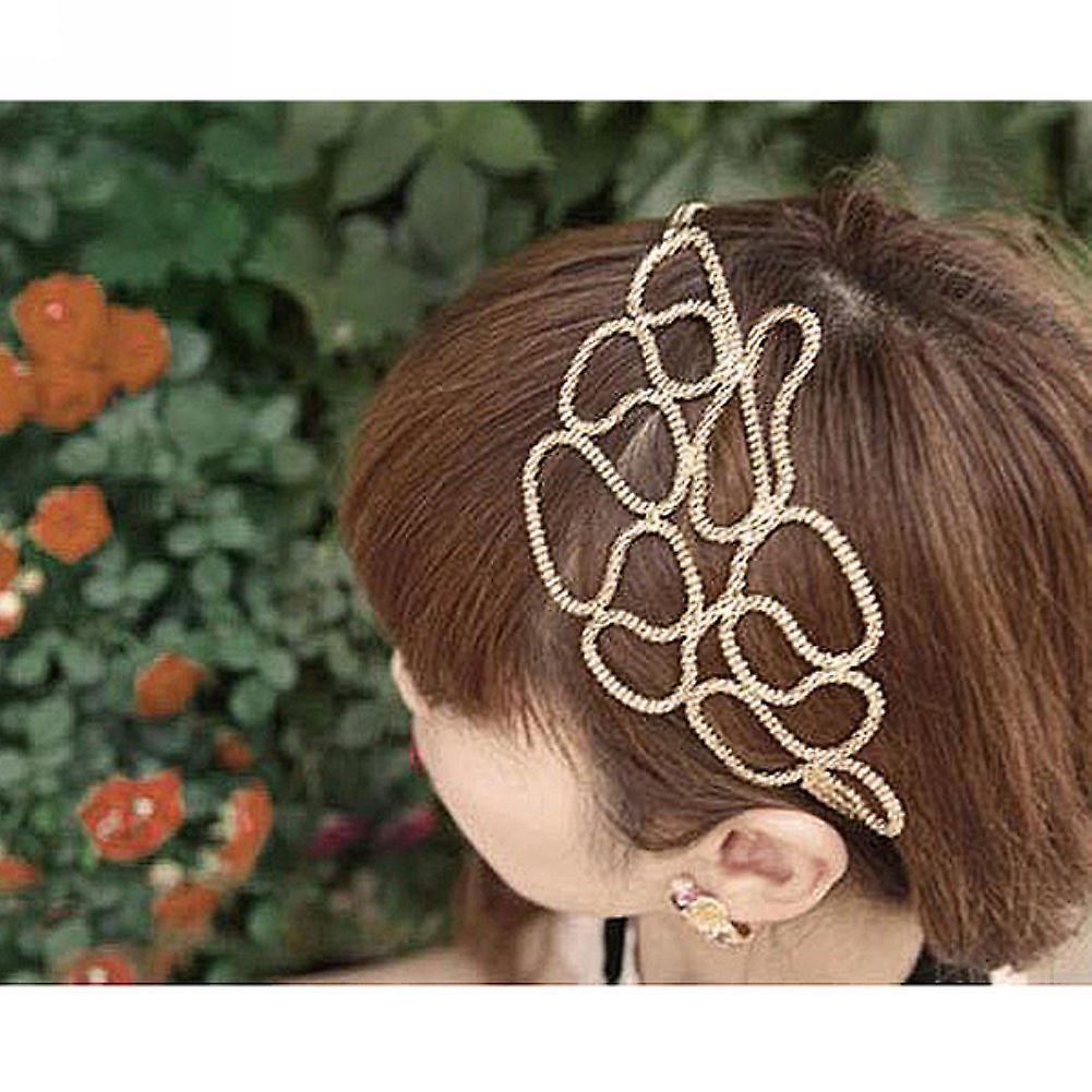 Boolavard® TM Hollow Out Braided Gold Head Band Stretch Hair Accessories Gossip Girl