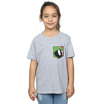 Looney Tunes Mädchen Marvin das Mars Gesicht Faux Pocket T-Shirt