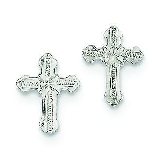 925 Sterling ezüst polírozott Post fülbevaló vallási hit Cross Mini fiúknak vagy lányoknak fülbevaló