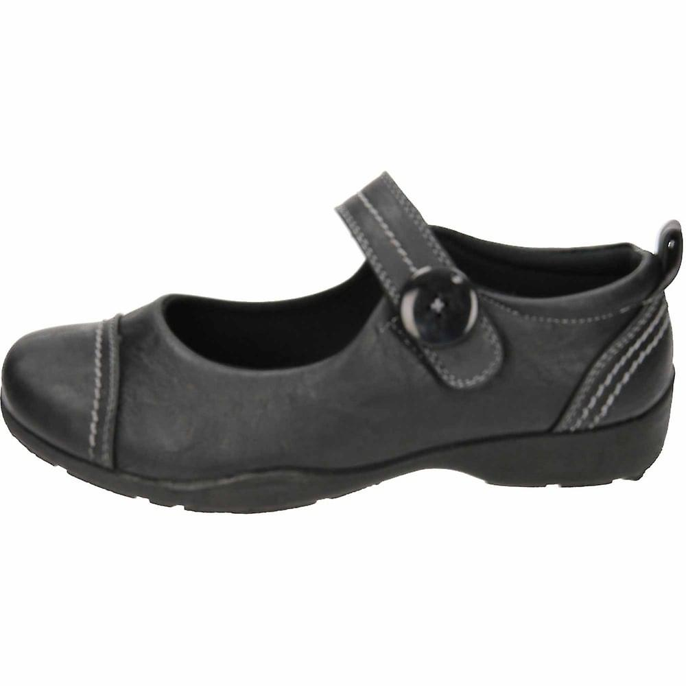 Dr Keller Mary Jane Casual Black Flat Rip Tape Loafer Shoes