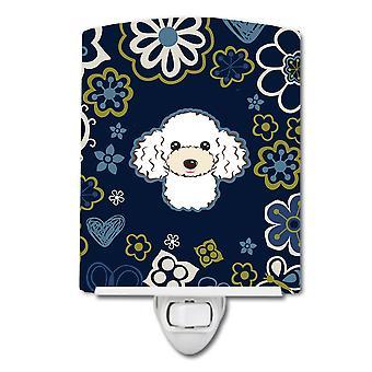 Carolines Treasures  BB5108CNL Blue Flowers White Poodle Ceramic Night Light