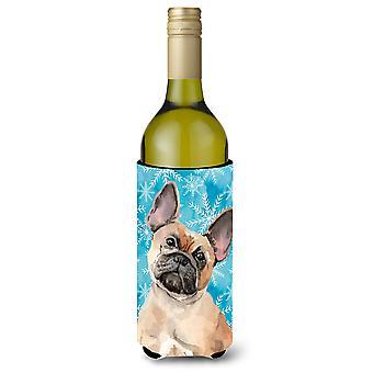 Fauve bouledogue Français Winter Wine Bottle Beverge isolateur Hugger