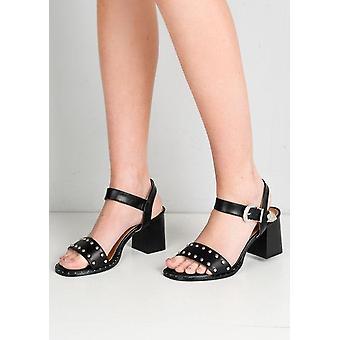Bezaaid westerse stijl Strappy blok hak sandalen zwart