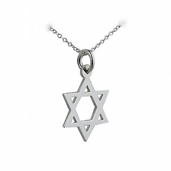 Silver 17x17mm plain Star of David Pendant with a rolo Chain 24 inches