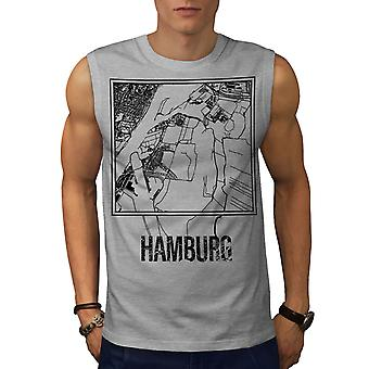 Stadtplan Hamburg City Mode Männer GreySleeveless T-shirt | Wellcoda