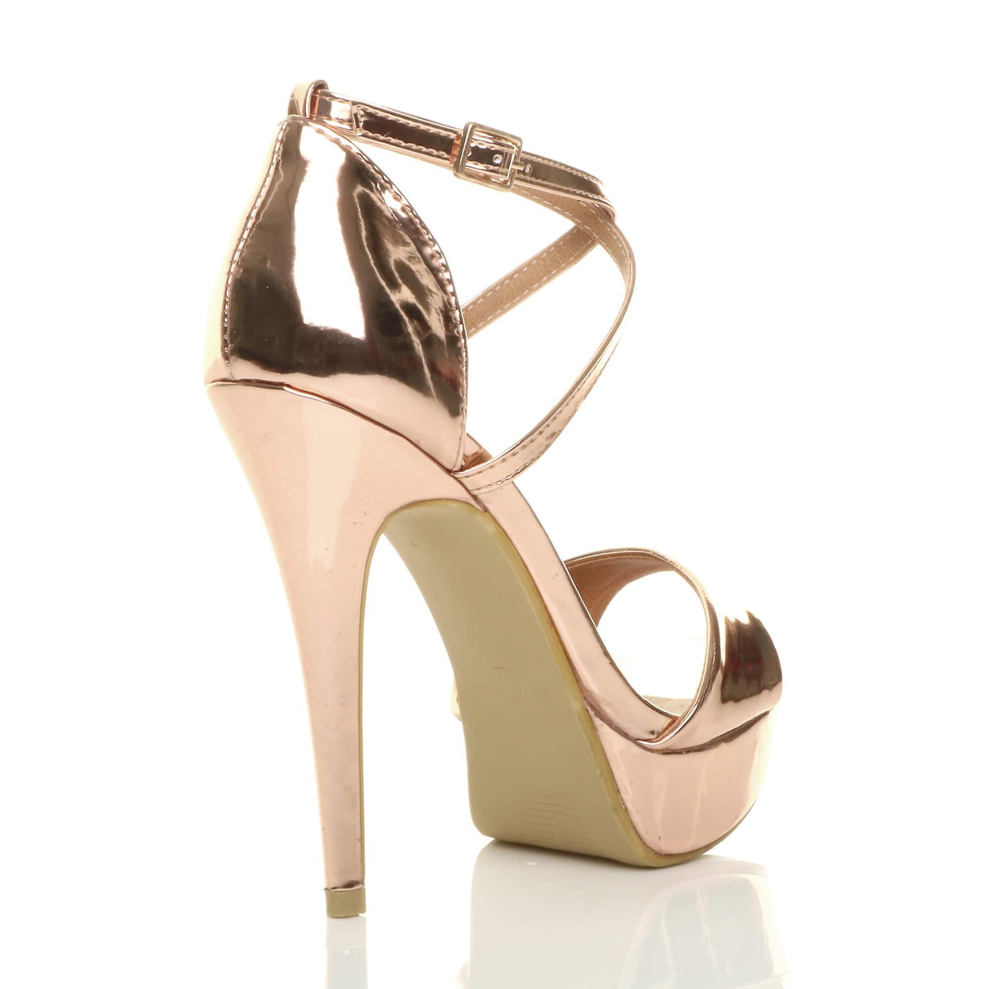 Ajvani dame platform højhælede peep toe krydse over strappy sandaler sko