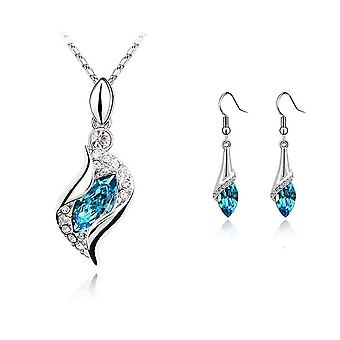 Womens Sky Blue Stone Necklace and Earrings Jewellery Set