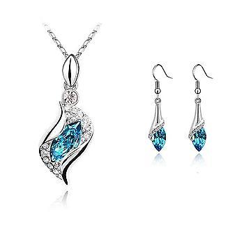 Femei Sky Blue Stone colier și cercei bijuterii set