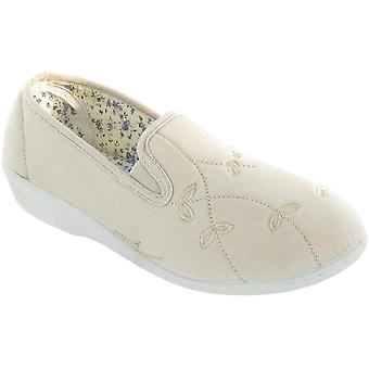 Mirak damer Bessie Slip på två kil Canvas sommaren Casual sko Brown
