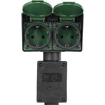 Renkforce 1168610 väderbeständig socket Strip 2x svart, grön inkl mark Spike