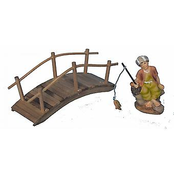 Wooden bridge with anglers for Nativity scene Christmas Nativity stable Nativity accessories
