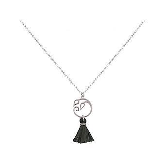 Naiset - kaulakoru - riipus - 925 hopea - rypäleen lehdet - tupsu - harmaa - jooga - 45 cm