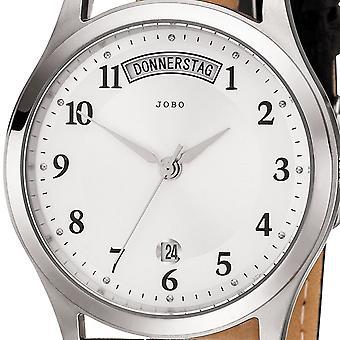 JOBO men's wristwatch quartz analog stainless steel leather strap black mens watch date
