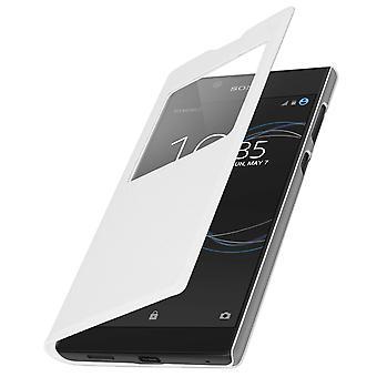 Smart Visa fönster flip case för Sony Xperia L1, slim cover - vit