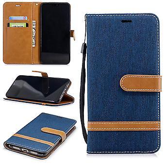 Huawei P20 par téléphone portable affaire sac protecteur Housse Etui carte spécialiste cas portefeuille bleu