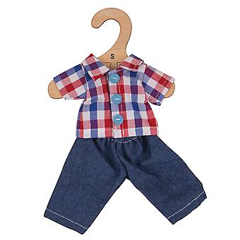 Bigjigs Toys Checked Shirt & Jeans (28cm) Clothing Outfit Dress Up
