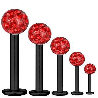 Bar di Labret trago Piercing titanio nero 1,2 mm, Multi sfera di cristallo rosso | 5-12