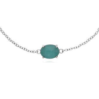 Classic Oval Amazonite Single Stone Bracelet in 925 Sterling Silver 270L010604925