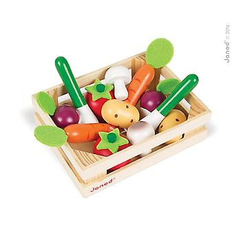 Janod Wooden Vegetable Crate with 12 Vegetables