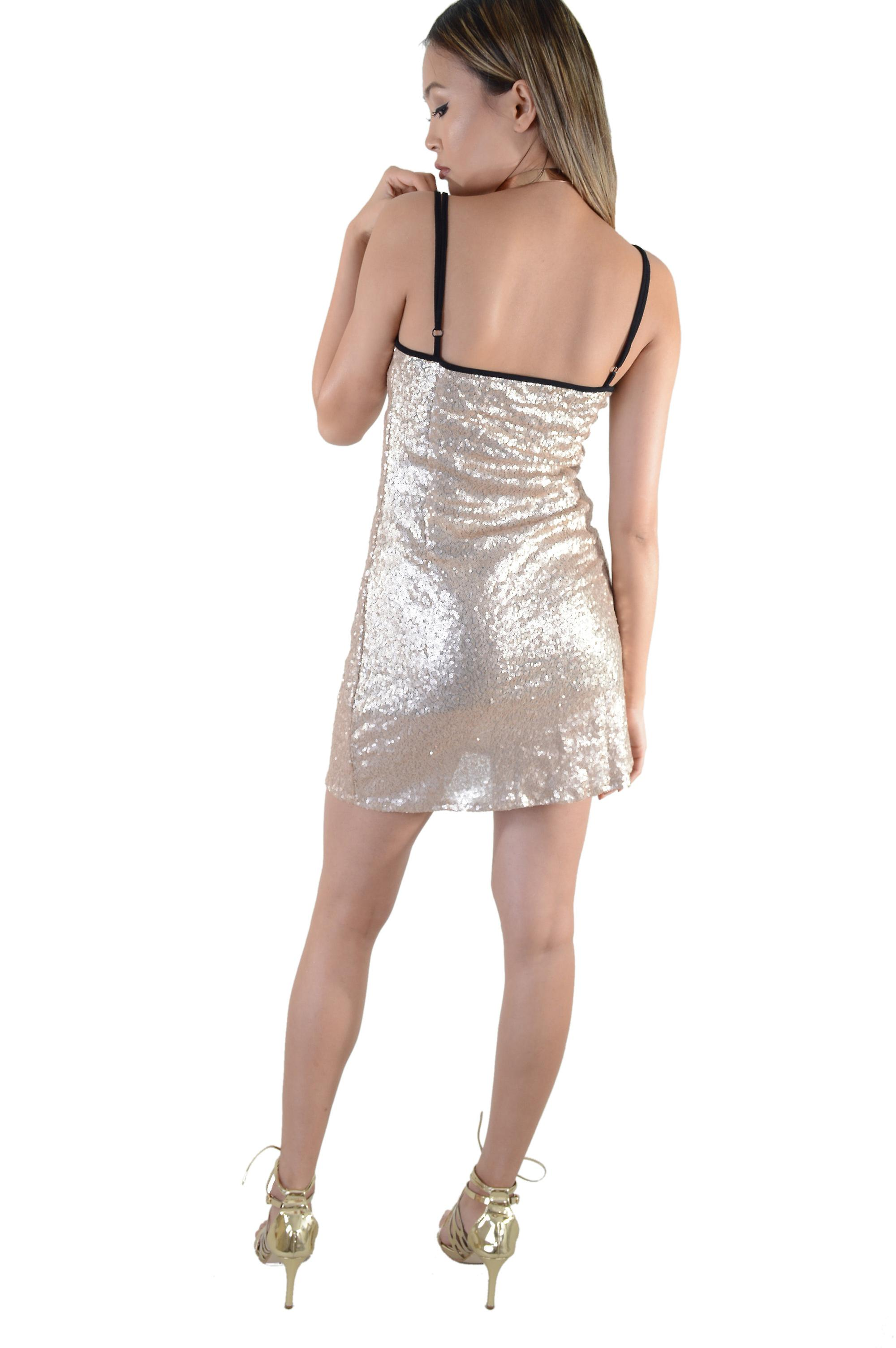 Lovemystyle Short Champagne Sequin Dress