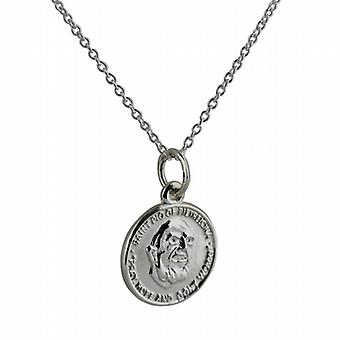 Silver 14mm round St Padre Pio Pendant with a rolo Chain 22 inches