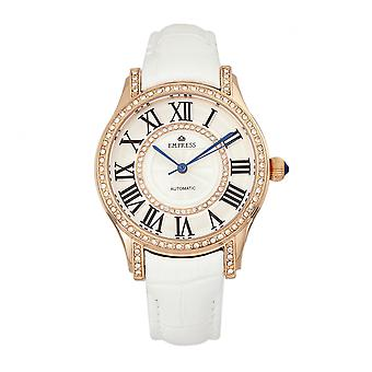 Empress Xenia Automatic Leather-Band Watch - White