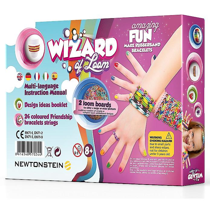 Wizard of Loom - Bracelet Toys Maker - Complete Kit with 2100 Coloured Loom Rubber Bands 84 S-clips 2 Loom Boards 2 Hooks A to Z Charms 12 Pendants 100 Beads 24 Friendship Bracelet Strings Design Ideas Book and Multi-language Instruction Manual