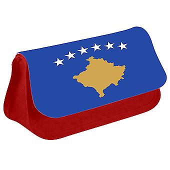 Kosovo Flag Printed Design Pencil Case for Stationary/Cosmetic - 0090 (Red) by i-Tronixs