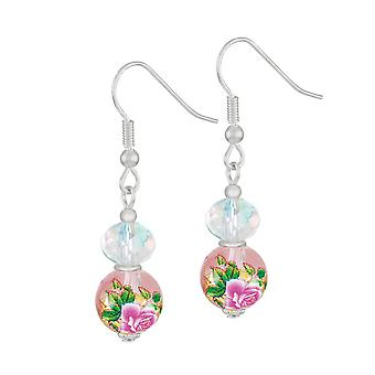 Eternal Collection Serene Pink Floral Glass And Crystal Silver Tone Drop Pierced Earrings