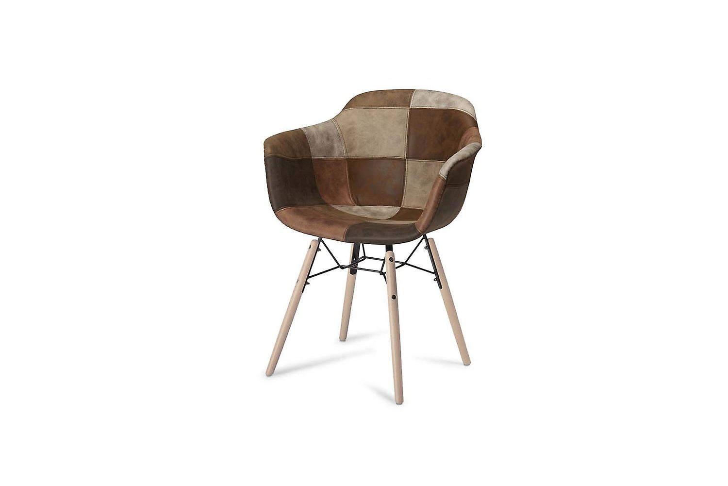 Furnhouse Flame Dining Chair, Brown Natural Legs, 59x57x80 cm, Set of 2