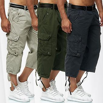 Men's Cargo Shorts Long Bermuda Bottoms 3/4 Cotton Trousers Casual Outdoor Pants