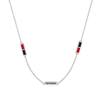 Rutgers University Sterling Silver Engraved Triple Station Necklace In Red & Black